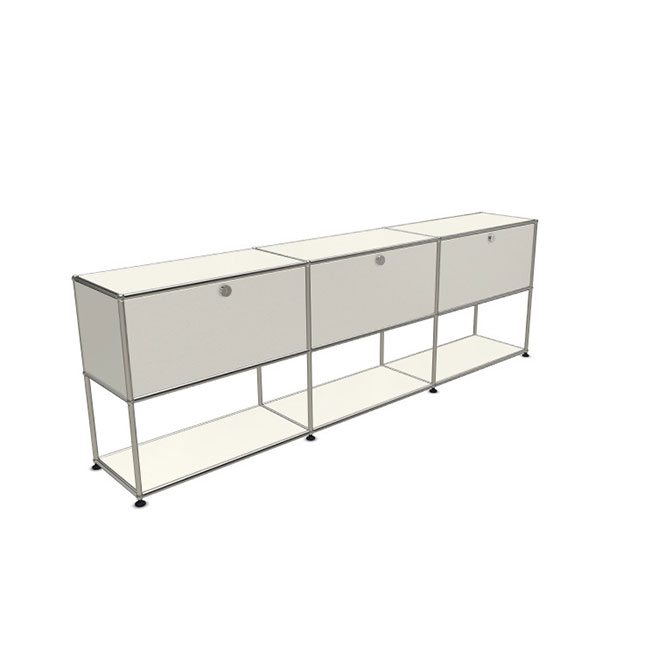 [USM Haller] Sideboard With 3 Falling Boards above Empty Shelf below